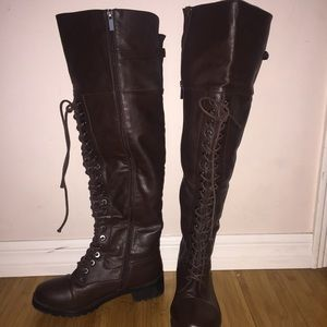 Over the knee combat boots! Size 8